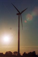 Ein Windrad vor der untergehenden Sonne