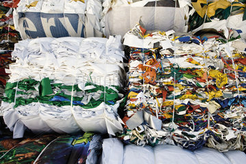 Storage of bales of PVC sheeting for recycling