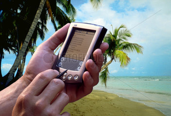 Mann mit PDA am Strand