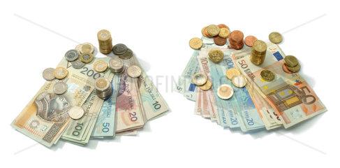 Zloty- und Euromuenzen und -scheine