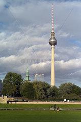 Berlin  Deutschland  Blick auf den Berliner Fernsehturm am Alexanderplatz