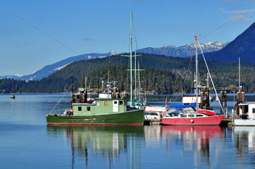 Sunshine Coast Kanada: Fischerboote in der Purpoise Bay in Sechelt;