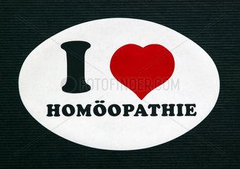 I love Homoeopathie - Aufkleber