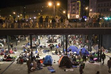 Transitzone fuer Fluechtlinge in Budapest