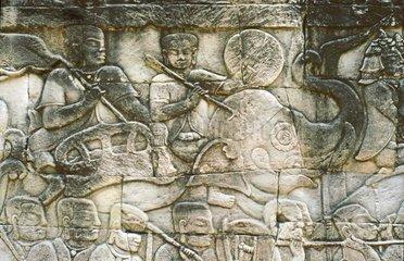 Marschierende Armee  Relief im Suedfluegel der Ostgalerie im dritten Mauerring von Bayon  Kambodscha
