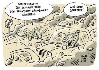Deutschland darf Grenzwert fuer Stickoxid auf 50 Mikrogramm erhoehen