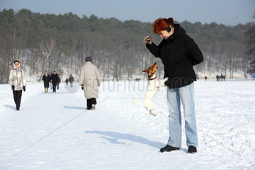 Berlin  Deutschland  Spaziergaengerin mit Hund auf dem zugefrorenen Schlachtensee