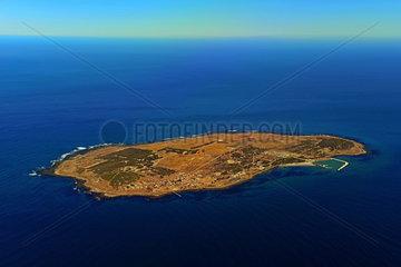 Luftaufnahme der Gefaengnisinsel Robben Island vor Kapstadt