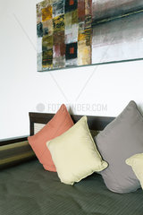 Cushions on sofa  painting hanging on wall