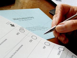 Wahlzettel zur Landtagswahl NRW