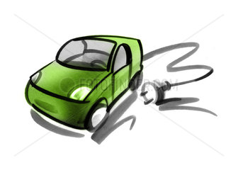Electric car with electric cable and plug