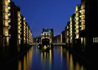 Speicherstadt Hamburg Nachtaufnahme
