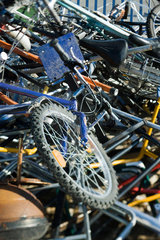 Bicycles in junk heap  close-up