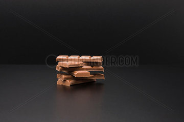 Stack of milk chocolate bars