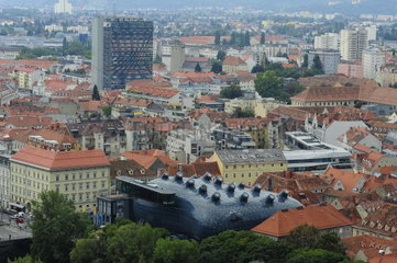 View from Castle Hill on the Kunsthaus Graz