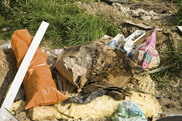 Garbage piled up outdoors