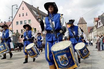 Altdorf  Deutschland  Fanfarenzug bei den mittelalterliche Wallenstein-Festspielen