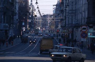 Belebte Strasse in Gliwice