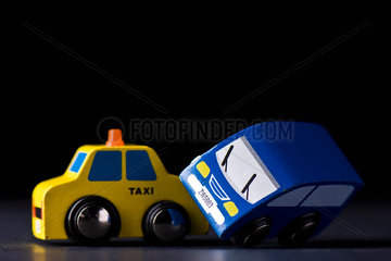 Toy cars colliding