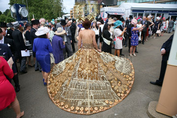 Royal Ascot  Fashion  woman with unusual dress at the racecourse