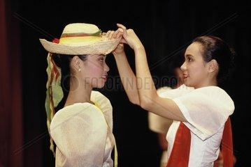 Filipino dancers backstage  Manila  Philippines