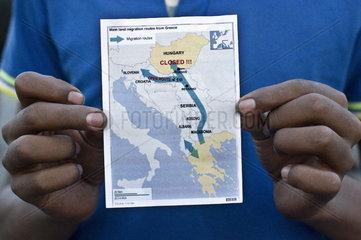 Landkarte mit Fluchtroute nach Europa