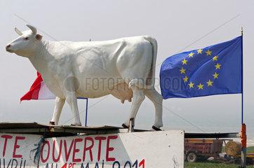Eine weisse Kunststoffkuh wirbt fuer Rindfleisch-Direktvermarktung