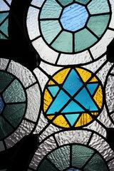 Juedische Gemeinde in Deventer  Niederlande: Bleiglasfenster mit Davidstern