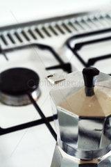 Espressokocher auf einem Gasherd