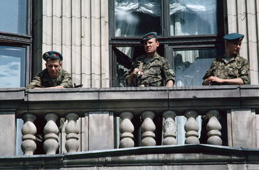 fight for independence 1991 / Soviet paratroopers occupying the public radio central  Riga  Latvia