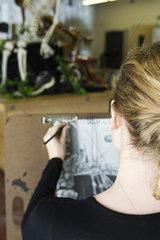 Artist sketching still life drawing
