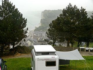 Blick vom Campingplatz auf die Buch von Yport