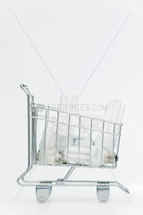 Shopping cart containing energy efficient light-bulbs