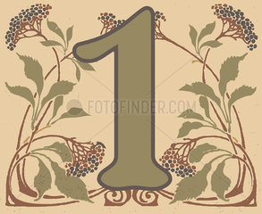Number 1 with floral pattern