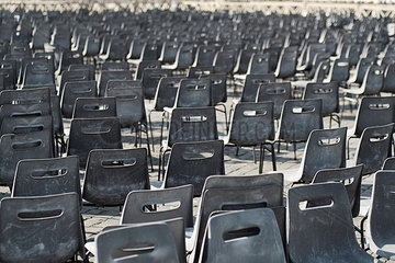 Vatican City  Row of chairs  Preparation for an audience of the Pope