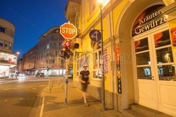 Men  women on the pavement of Giessens Bahnhofstrasse