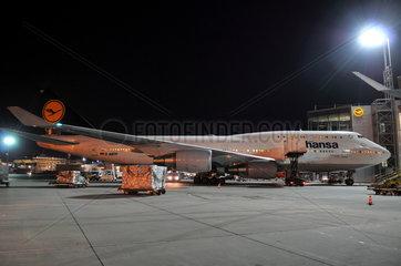 Lufthansa Boeing 737 am Terminal A in Frankfurt