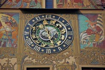 Die astronomische Uhr am Ostgiebel des Ulmer Rathauses