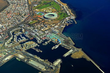 Aerial view waterfront and football stadium  Cape Town