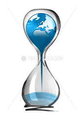 Planet earth falling through hourglass