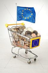 Hamburg  Deutschland  Euromuenzen in einem Einkaufswagen mit Europafahne