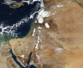 Satellite view of a rare winter storm across much of the Middle East.