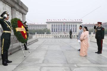 CHINA-BEIJING-NEPALI PRESIDENT-MONUMENT-TRIBUTE (CN)