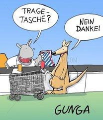 Nilpferd bietet Kaenguru Tragetasche an. Nilpferd bietet Kaenguru Tragetasche
