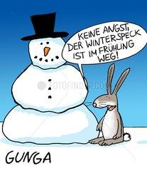 """Hase sagt zu Schneemann  """"Keine Angst der Winterspeck ist im Fruehling"""