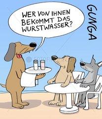 Wer von Ihnen bekommt das Wurstwasser? Zwei Hunde sitzen im Café. Kellner b