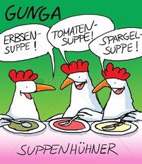 Suppenhuehner beim Suppe essen. Suppenhuehner beim Suppe essen.