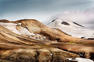 Iceland  South West  Landmannalaugar  Reykjafell  landscape and snow