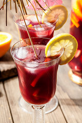 Glass of Sangria with fresh fruits