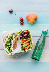Healthy school food in a lunch box  vegetarian sandwich with cheese  lettuce  cucumber  egg and cress  sliced carrot and celery  cherries and pear